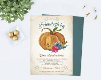 FRIENDSGIVING INVITATION TEMPLATE pdf, Thanksgiving Dinner Invite, Give Thanks, Editable Invite, Instant Download Edit Now, Friends Giving