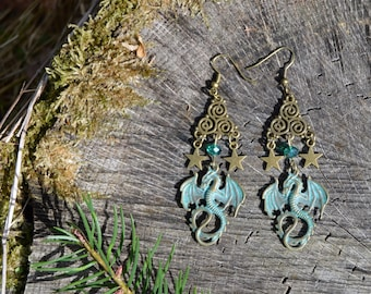 Bronze dragon earrings, medieval fantasy green dragon jewelry, celtic earrings, Triskelion spiral celtic jewelry, witchy elf cosplay jewelry