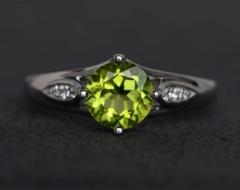 natural peridot ring engagement ring round cut ring gemstone ring green peridot ring silver ring August birthstone ring