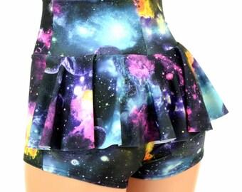 Galaxy UV Glow Cosmic Space High Waist Ruffle Rump Spandex Booty Shorts - 154825