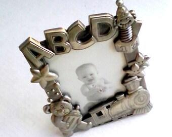 Vintage Frame Metal Baby Picture Frame Train Teddy Bear Design Photo Holder Decorative Standup Desk Frame Raised Alphabet Train Teddy Stars