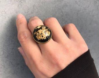 Gold Leaf Foil with Black backdrop in Antique Bronze Bezel Statement Resin Ring, Cabachon, Statement Ring, Resin Jewelry, Leaf Foil