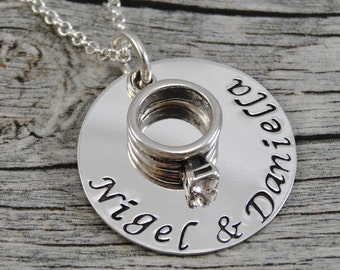 Hand Stamped Jewelry - Personalized Jewelry - Wedding Jewelry - Sterling Silver Couples Necklace - Engagement Ring Charm
