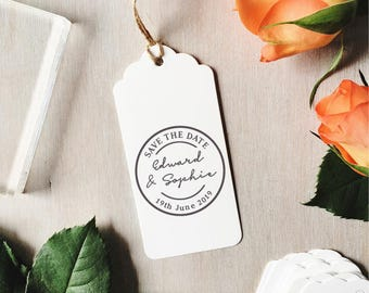 Circle Save The Date Stamp | Custom Wedding Stamp - Wedding Stationery - Save The Date Tags