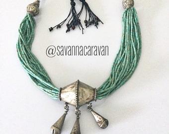 Moroccan silver pendant Uzbekistan beads multi strand green turquoise necklace