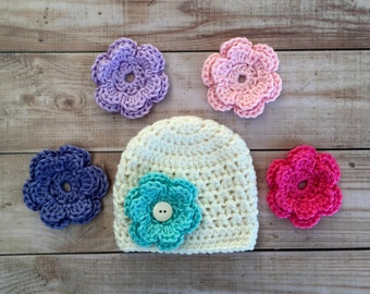 Baby Girl Hat, Crochet Flower Hat, baby flower hat,NewbornHat, Interchangeable Flower Hat,Comes With 5 Flowers, U choose colors
