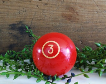 Vintage phenolic billiard ball, 2 1/4 inch no. 3 solid resin red pool ball