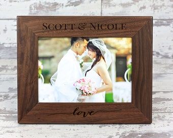 Personalized Picture Frame, Personalized Gift, Wedding Picture Frame, Walnut Picture Frame, Love Picture Frame, Custom Photo Frame, Wedding