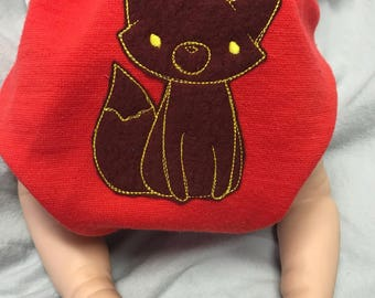 MamaBear BabyWear One Size Wool Diaper Cover Wrap - Embroidered Fox