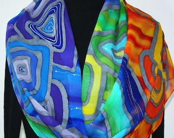 Red Blue Green Silk Scarf Handpainted Handmade Shawl RETRO REVAMPED, Silk Scarves Colorado. Select Your SIZE! Birthday Gift, Christmas Gift