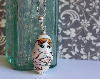 Matryoshka Porcelain Pendant Necklace, Babushka Jewellery, Russian Doll Jewelry Pendant, White Porcelain, Christmas Gift Her