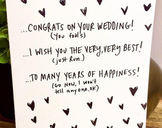Wedding card unique, wedding card funny, wedding card, congratulations, wedding card handmade, run away together, wedding funny