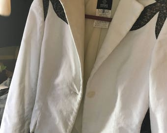 Versace jeans couture white corduroy blazer with snakeskin detail