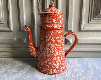French enamel splatter coffee pot, marbled Biggin filter red and white vintage, jug cafétiere, enamelware kitchenalia, antique country decor