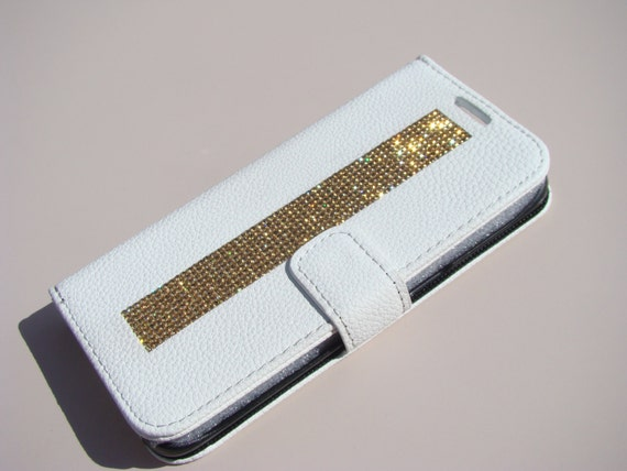 Galaxy S7 Edge Wallet Case Gold Topaz Rhinestone Crystals White Wallet Case. Velvet/Silk Pouch bag Included, Genuine Rangsee Crystal Cases.