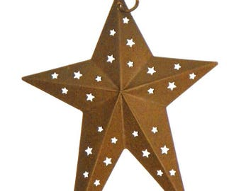 Metal Star a 6 Inch Rust Finished Metal Primitive Star with Star cutouts, Folk Art Star Add to Wreaths, Garlands, Shaker Peg, Christmas Tree