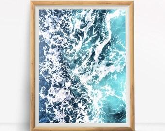 Ocean Waves Summer Beach Water Tropical Digital Design Poster Wall Art Decor Download JPEG