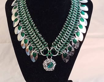 Green and Silver Kingsmaille collar w/ scale fringe and Emerald Phaedra© pendant - 14mm