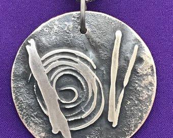 Spiral Design Round Pendant - Round Handcrafted Pendant - Garden Themed Jewelry - Oriental Design Jewelry - Nature Pendant - Casual Pendant