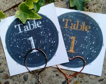 Celestial vintage night sky table  number cards