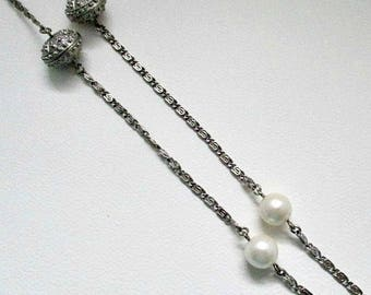 Vintage Avon Pearlesque Accent Necklace - 37 inch Long Pearl Chain Necklace - Pearl Jewelry Gift
