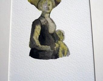 Femme à chapeau, dessin original