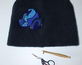Blue beanie with handmade embroidered fantasy leaves/hat/winter/Gift