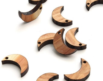 Laser Cut Mini Wooden Moon Beads - Itsies - Charms. With or Without Holes.  Timber Green Woods USA.