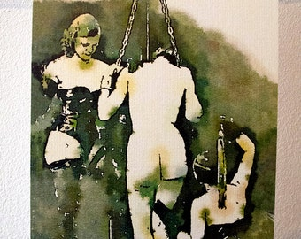 Watercolour postcard - vintage style - erotic postcard