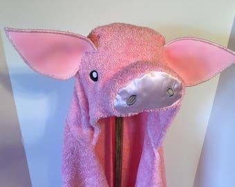 pig hooded bath towel