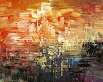 Original abstract painting on canvas impasto palette knife warm colors swank SUNRISE and SHADOW by Tatiana Iliina - Free shipping Canada USA