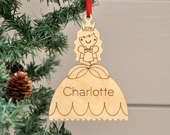 Wooden Princess Ornament: Cinderella Personalized Name Baby's First Christmas 2018 Girl Fairytale Ornament
