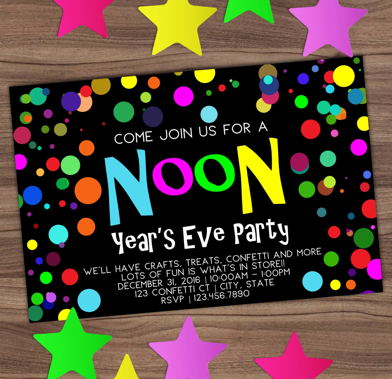 Noon Year\'s Eve Party Invitation New Years Kids Invite