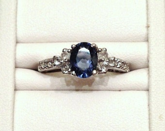 Teal Fluorite and White Topaz Ring - Sterling Silver Size 8
