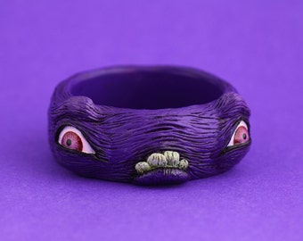 Monster creature bangle alternative artist art jewellery sculpted sculpt resin jewelry funky odd weird cool awesome statement purple