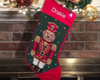 Yellow Lab Soldier Personalized Needlepoint Stocking, dog stocking, Personalized Christmas stockings, Needlepoint Christmas stockings