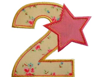 "Starry, Starry Numbers Appliques Machine Embroidery Designs Applique Patterns in 4 sizes 3"", 4"", 5"" and 6"""