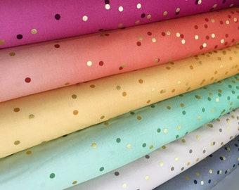 Wedding fabric, Ombre Confetti fabric by Vanessa Christenson, Gold Metallic Decor, Quilting, Bundle of 7 fabrics, Choose the Cuts