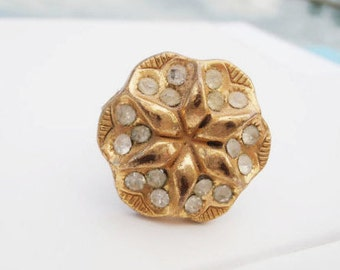 Art Deco Ring, Art Deco Button Ring, Vintage Rhinestone Ring, Antique Button Ring, Vintage Button Ring, Gold Star Ring, Art Nouveau, Gift