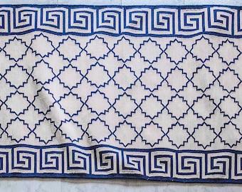 "Handmade, Navy and white, Greek Key border, Indian, cotton dhurrie, cotton kilim, runner in 2'6""x8'"