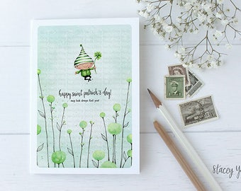 "greeting card - card - shamrock -flowers - luck - ""Happy Saint Patrick's Day!"""