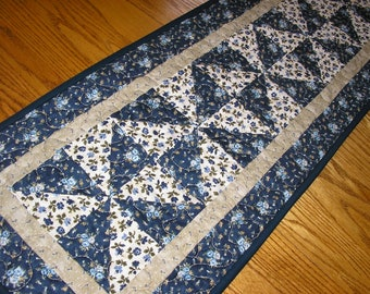 Quilted Table Runner, Blue Floral Pinwheel Runner,  13 x 38 1/2 inches