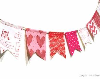 Valentine banderoles bannière, Vintage Valentine Bunting bannière, bannière de février de Bunting, dentelle Bunting, Valentines photographie Prop