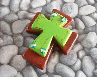 CROSS Large Stacked Brown Stone with Lime Green Stone Cross and Bling