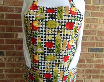 Plus Size Women's Apron, Taste of Italy Apron, Kitchen Apron, Pocket Apron, Bib Apron, Cook Apron, Hostess Apron, Full Apron