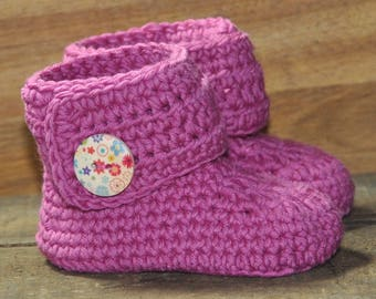Corchet Baby Booties, Cotton Booties, Flower Button Booties