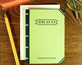 letterpress bravo book cover greeting card tale of extraordinary feats apple green book lover