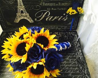 Sunflower Bouquet with Boutonniere, Sunflower Royal Blue Rose Wedding Bouquet, Blue Yellow Bouquet, Sunflower Bridal Bouquet, Rustic Bouquet
