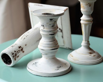 SHABBY CHIC CANDLEHOLDERS Set of Three Farmhouse Cottage Home White Rustic Candleholders Upcycled