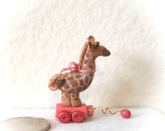 Giraffe Pull Toy Miniature Artisan Hand Sculpted Detail Painted Original 12th Scale Dollhouse Child's Toy